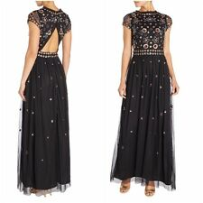 Frock and Frill Embellished Cocktail Evening Dress Gown Long Maxi Party Black