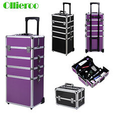 Ollieroo Aluminum 4 in1 Rolling Makeup Trolley Train Case Box Cosmetic Organizer