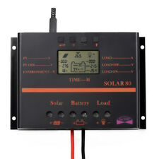 60A/80A LCD Solar Battery Regulator Charge Discharge Controller 12V / 24V & USB