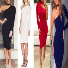 Womens One Shoulder Choker Bodycon Dress Ladies Nightout Party Dress Size 6-14