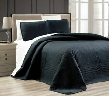 Twin XL Full Queen Cal King Bed Solid Black 3 pc Quilt Set Coverlet Bedspread