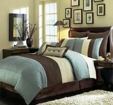 Twin Full Queen Cal King Bed Brown Blue Ivory Stripe 8 pc Comforter Set Bedding