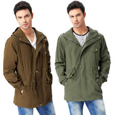 Military Men Slim Hoodie Cotton Coat STYLISH Long Trench Hooded Jacket Outwear