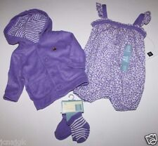 baby Gap NWT Girl Outfit Set Lot Terry Hoodie + Leopard Romper + Socks