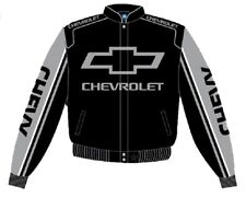 Authentic Chevy Chevrolet Racing Embroidered Cotton Jacket JH Design Black Grey