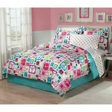 Twin Full Bed Bag Blue Pink Purple White Peace Signs 7 pc Comforter Sheet Set