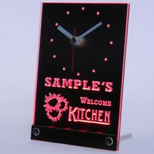 tncps-tm Welcome Kitchen Personalized Beer Home Decor Neon Led Table Clock