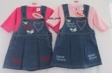 BABY GIRL DENIM PINAFORE PLEATED DRESS PINK LONG SLEEVED TOP GIRLS OUTFIT SET