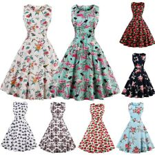 Womens Ladies 1950s Vintage Rockabilly Swing Dresses Retro Floral Cocktail Party