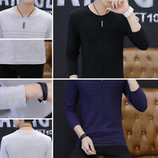 Solid color T-Shirt Cotton T Shirt Men's T Shirt Round neck Casual Long Sleeve