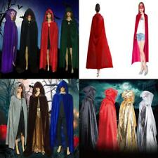 Halloween Costume Witchcraft Cape Gothic Vampire Hooded Velvet Cloak Wicca Robes
