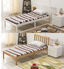 Single Bed White/ Natural 3ft Bed Solid Wooden Frame Pine Wood Bedroom Furniture