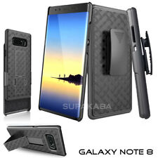 For Samsung Galaxy Note 8 Belt Clip Holster Slim Case Cover with KickStand Black