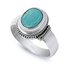 Women 13mm Sterling Silver Simulat Turquoise Cocktail Vintage Antique Ring Band