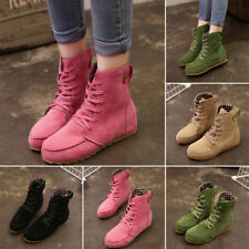 Womens Girls Ankle Lace Up Boots Increase Flat Heel Booties Martin Casual Shoes