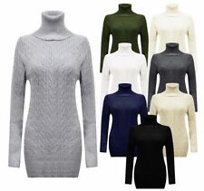 New Ladies Womens Polo Long Sleeve Cable Chunky Knitted Mini Dress UK 8 - 14