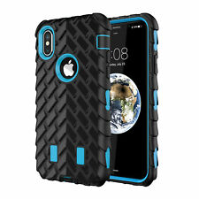 Shockproof Hybrid Armor Rubber Tire Pattern Case Phone Cover For Apple iPhone X