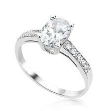 Women 14K White Gold Oval Cubic Zirconia CZ Wedding Engagement Ring Band