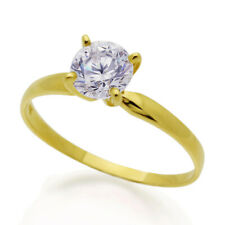 Women 14K Gold 1 Carat CZ Classic Solitaire Wedding Engagement Ring Band