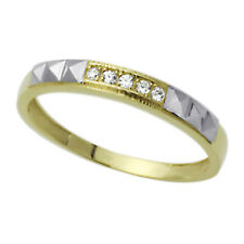 Men 14K White and Yellow Gold Two Tone CZ Five Stone Wedding Band Ring