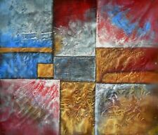 Primary Rectangles Abstract Hand Painted Stretched Canvas Art Oil Painting