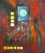 City Lights Abstract Irregular Shapes Painted Stretched Canvas Art Oil Painting