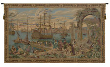 The Harbor by Guardi 18th Century Venice Italian Woven Tapestry Wall Hanging