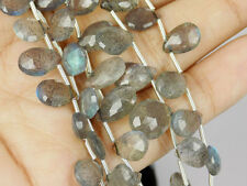"Natural Labradorite Pear Briolette 5x9-9x12mm Gemstone Beads 8"" Long,1 Strand"