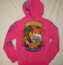 ED HARDY girls kids 4 5 pink tropical beach Love hoodie rhinestones crystals $97