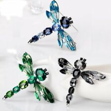 Silver Dragonfly Crystal Brooch Pin Costume Broach Womens Christmas Jewellery