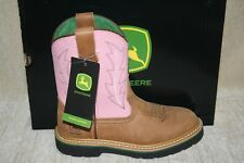 YOUTH GIRLS JOHN DEERE JD3185 PINK&TAN PULL ON BOOTS-SEE AVAILIBLE SIZES (B249)
