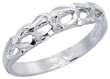 Women 925 Sterling Silver Rhodium Plated, Machine Cut Heart Ring Band