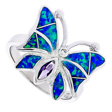 Women Silver Rhodium Plated Simulated Opal Inlay Purple CZ Butterfly Ring 16mm