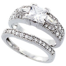 Women Silver Rhodium Plated Vintage 2Pc Engagement Ring Bridal Sets 7.5mm
