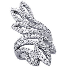 Women 925 Sterling Silver Rhodium Plated, Leaf Cut Outs Ring Band
