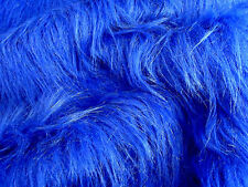 LONG Pile Fun Faux Fur Fabric Material - ROYAL BLUE