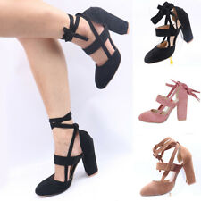 New Female Ladies Lace Up Mid Heel Ankle Tie Wrap Strappy Sandals Pumps Shoes