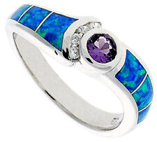 Fine Women Silver Rhodium Plated Simulated Opal Inlay Ring Violet Purple 7mm