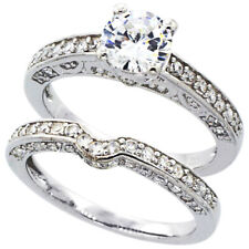 Fine Women Silver Rhodium Plated Vintage 2Pc Engagement Ring Bridal Sets 6mm