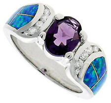 Fine Women Silver Rhodium Plated Opal Inlay Ring Oval Shape Violet Purple 9mm