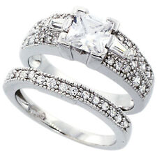 Fine Women Silver Rhodium Plated Vintage 2Pc Engagement Ring Bridal Sets 7.5mm