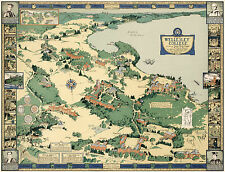 Historical Map Wellesley College Campus Pictorial Birds-Eye View Wall Art Poster