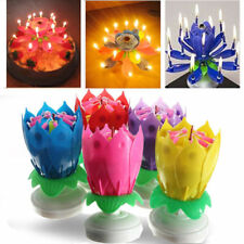 Colorful Cake Birthday Lotus Flower Decoration Candle Blossom Musical Rotating