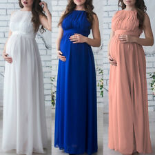 Maternity Evening Dress Pleated Pregnancy BabyShower Wedding Bridal Long Gown