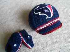 New handmade crochet Houston Texan baby hat and booties (0-3 months, 3-6 months)
