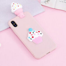 3D Lovely Pink Ice Cream Soft Silicone Case Cover For iphone Samsung Huawei