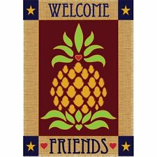Dicksons Inc Welcome Friends Primitive Pineapple 2-Sided Garden Flag