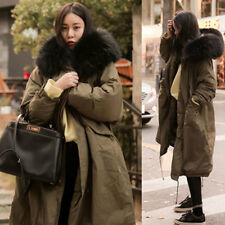 2017 New Womens Winter Fashion Coat Fur Collar Hooded Long Outdoor Warm Overcoat