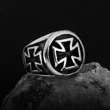 Cool Mens Jewelry Black Cross 316L Stainless Steel Ring Size 8-11