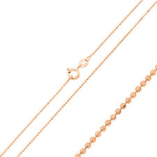 Women 1mm Sterling Silver Italian Necklace 14K Rose Gold Plated D/C Bead Chain